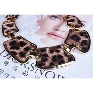 Wild Beauty Women's Purple Leopard Print Gold Link Patch Bib Collar Necklace