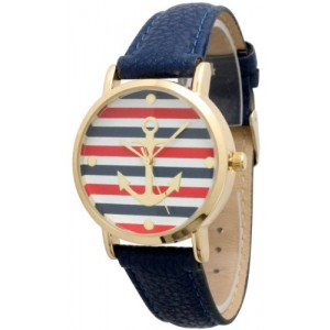 Women`s Geneva Multi Color Striped Anchor Leather Watch - Navy
