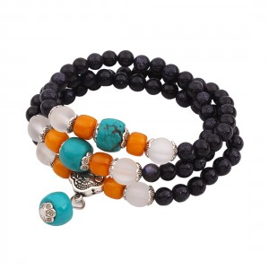 OYang Natural Crystal Fashion Black Sand Multi-layer Turquoise Ancient Silver Three Ring Lucky The Hand Strings Bracelet Style Name B0490