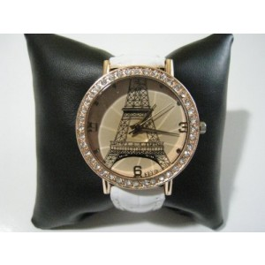 HACBIWA Women`s Quartz Watch - Eiffel Tower Design - White