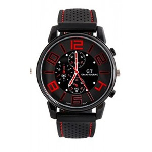 GT Grand Touring Men`s Military Army Style Red Sports Watches Analog Quartz Black Silicone Strap Red Color