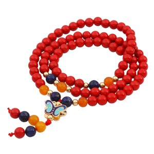 OYang Natural Red Sand Bracelet Turn Lucky Bead Multi-storey Multi Circle Crystal String style name B0491