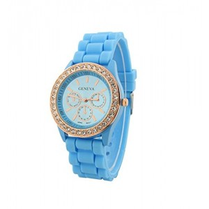 U-beauty Light Blue Fashion New Rose Gold Diamond Quartz Silicone Jelly Watch for Women Wedding Gift
