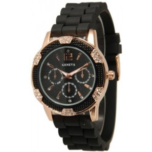 Women`s Black Rose Gold Chronograph Silicone with Crystal Rhinestones Bezel