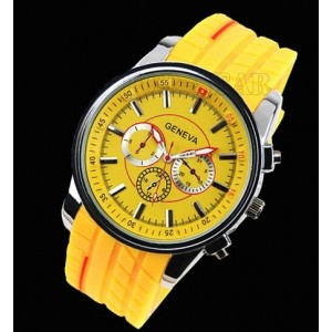 Viliysun-New Style Fashion Hot Geneva Rubber Tyre Watch Man Wristwatches Personality (Yellow)