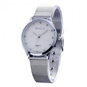2013newestseller Brand Womage Watches Mens Womens Unisex Stainless Steel Band Fashion Watches on Sales Size L White(Silver Side Silver band)