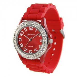 Women`s Rhinestone Accented Watch Color: Red