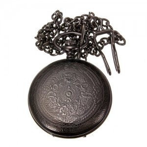 Vintage Hollow Roman Flower Alloy Black Men Women Pocket Watch DDStore