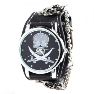 YESURPRISE Unisex Punk Rock Skull Skeleton Leather Band Fashion Bracelet Cool Chain Quartz Wrist Watch