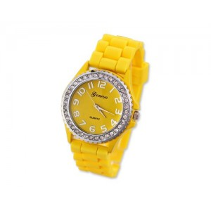 GENEVA Crystal Bezel Large Face Silicone Jelly Sport Teen Women`s Watch - Yellow Best Gift for Valentine Birthday Christmas Thanksgiving