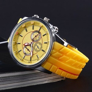 HACBIWA Sports Women Men 3-eye Yellow Quartz Silicon Wrist Watches