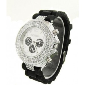 Geneva Women's Black Silicone Designer Faux Chronograph Watch with Baguette CZ Stones Bezel