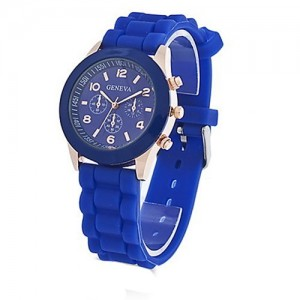 Unisex Geneva Silicone Jelly Gel Quartz Analog Sports Wrist Watch (Dark Blue)