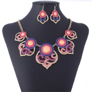 Sweet Orange Lucky Totem Tribal Bib Statement Chain Necklace Earrings Set