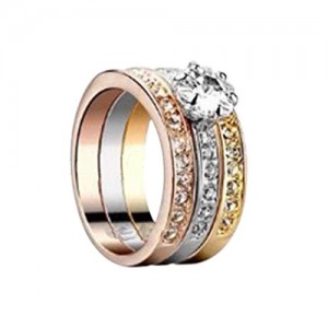 HOT Women 18K Rose gold GP Swarovski Crystal Engagement Wedding Band Ring