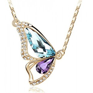 Gold Tone & Rhodium Plated Crystals Pendant Necklace (Butterfly-Gold&Mix Color)