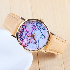 3 Colors New Arrival World Map Leather Strap Watches?(Beige)