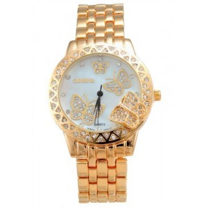 2013newestseller Luxury Women`s Classic Round Gold Tone Stainless Steel Butterfly Quartz Wrist Watches