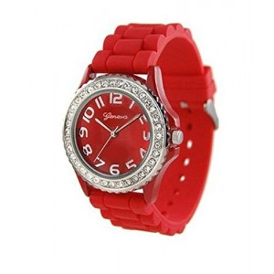 Red Black 2 Pack Geneva Crystal Rhinestone Large Face Watch with Silicone Jelly Link Band