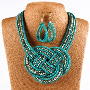 18K Gold Twist Small Beaded String Torsade Multiple Rows Necklace Earrings Set