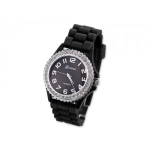 Candy-colored Black Geneva Silicone Colorful couple of style quartz watches