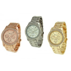 Geneva Silver Gold and Rose Gold Plated Classic Round CZ Ladies Boyfriend Watch