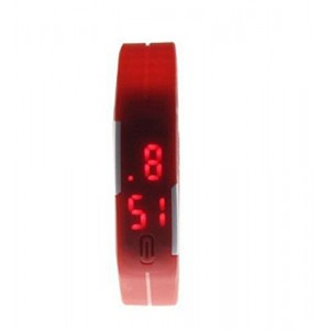 MBox Ultra Thin Unisex Sports Silicone Digital LED Sports Bracelet Wrist Watch - Red