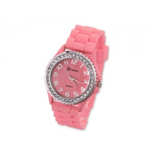 GENEVA Crystal Bezel Large Face Silicone Jelly Sport Teen Women`s Watch - Pink Best Gift for Valentine Birthday Christmas Thanksgiving