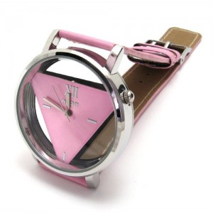 Womens Unique Hollowed-out Triangular Dial Pink Fashion Watch