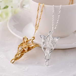 Crystal Lord of The Rings Hobbit Arwen Evenstar Pendant Sweater Chain Necklace(silver)