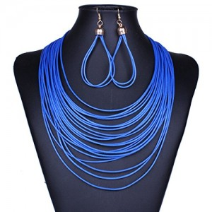 Leather Multiple Layers Rows Torsade Ropes Cords Sweater Bib Necklace Set