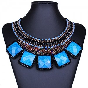 Wide Bold Chunky Multiple Layers Beaded Square Stone Pendant Bib Necklace