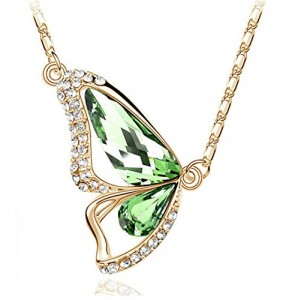 Gold Tone & Rhodium Plated Crystals Pendant Necklace (Butterfly-Gold&Green)