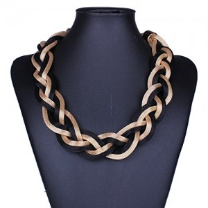 Black Golden Mix Link Chain Twist Multiple Rows Layers Torsade Bib Necklace