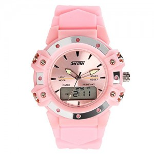 Fashion Boys Girls Waterproof Sport Watch Dual Display Pink