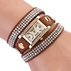 Women's Vintage Square Dial Rhinestone Weave Wrap Multilayer Leather Bracelet Wrist Watch (Coffee)