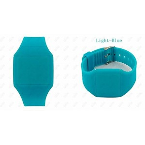 Touch Screen Colorful Ultra-thin Led Watch (light-blue)