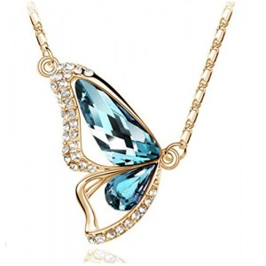 Gold Tone & Rhodium Plated Crystals Pendant Necklace (Butterfly-Gold&Blue)