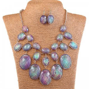 Luxury Purple Shell Like Oval Bead Bib Bubble Statement Necklace Earrings Set