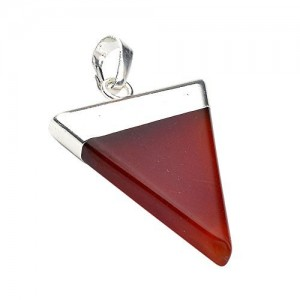 Xiufen Amethyst/ Pink Quartz/ Crystal/ Tiger`s Eye/ Opalite... Stone Pyramid Pendant (Silver Accessory) (Red Agate)
