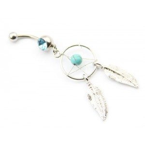 316L Surgical Steel 14g 7/16 Inch Crystal Gem Dream Catcher Belly Navel Barbell Bar Ring Body Jewelry + Belly Retainer