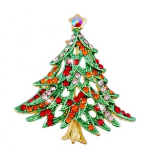 Oyang Luxury Christmas Tree With Colorful Crystal Diamond Brooch Pin