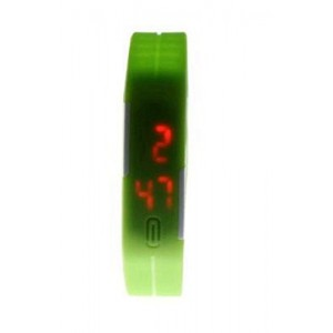 MBox Ultra Thin Unisex Sports Silicone Digital LED Sports Bracelet Wrist Watch - Green