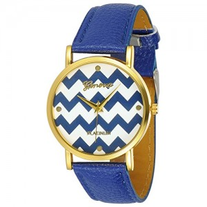 Women`s Geneva Chevron Style Leather Watch - Blue