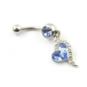 Surgical Steel Blue Rhinestones Heart Dangle Surgical Steel Belly Navel Bar Ring Body Jewelry