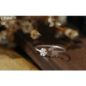 Oyang S925 Silver Opening Adjustable Drawing Christmas Snow Deer Ring Little Finger Ring For Women