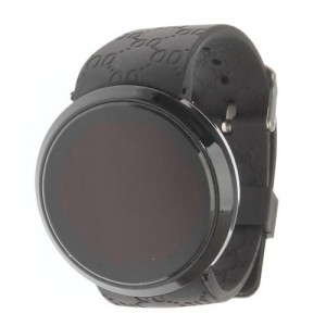 NEW Black Men`s Digital LED Circle Wrist Touch Screen Watch Water Resistant