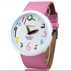 HACBIWA Boys Girls Teen Cute Lovely Cartoon Pencil Analog Wrist Watch Pink