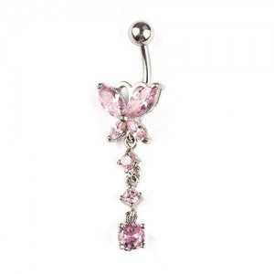 Pooqdo (TM) Crystal Butterfly Dangle Ball Barbell Bar Belly Button Navel Ring (Pink)