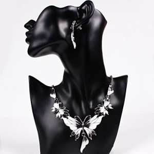 Enamel Butterfly Pendant Bib Fringe Y Neck Lariat Necklace Stud Earrings Set